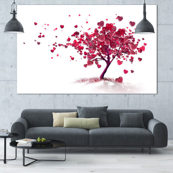 Canvas prints & wall decorative panels - 1 piece №0825 » Red, Pink, Gray, White » Art, Tree, Leaves, Color, Love, Decorative, Romantic, Hearts, Season Form #1