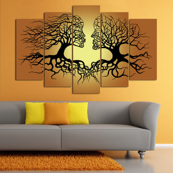 Canvas prints & wall decorative panels - 5 pieces №0826 » Green, Orange, Brown, Black, Beige » Art, Tree, Modern, Graphic, Design, Shape, Style, Fantasy, Branch, Silhouette Form #1