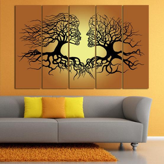 Canvas prints & wall decorative panels - 5 pieces №0826 » Green, Orange, Brown, Black, Beige » Art, Tree, Modern, Graphic, Design, Shape, Style, Fantasy, Branch, Silhouette Form #2