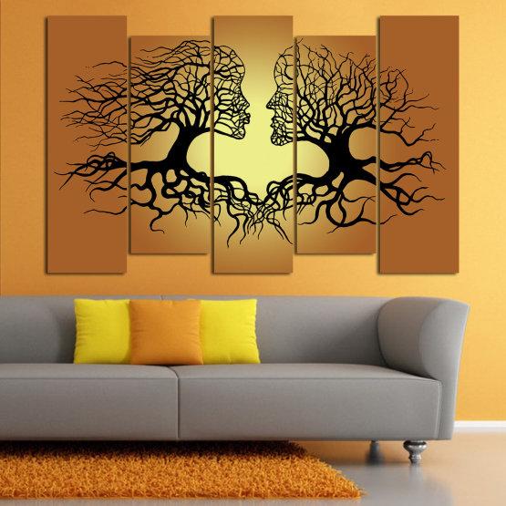 Canvas prints & wall decorative panels - 5 pieces №0826 » Green, Orange, Brown, Black, Beige » Art, Tree, Modern, Graphic, Design, Shape, Style, Fantasy, Branch, Silhouette Form #3