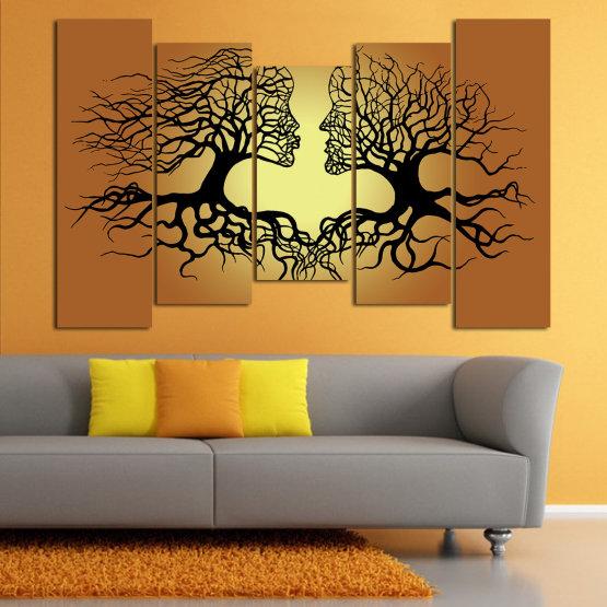 Canvas prints & wall decorative panels - 5 pieces №0826 » Green, Orange, Brown, Black, Beige » Art, Tree, Modern, Graphic, Design, Shape, Style, Fantasy, Branch, Silhouette Form #4