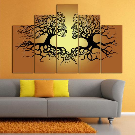 Canvas prints & wall decorative panels - 5 pieces №0826 » Green, Orange, Brown, Black, Beige » Art, Tree, Modern, Graphic, Design, Shape, Style, Fantasy, Branch, Silhouette Form #5