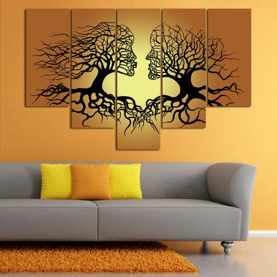 Canvas prints & wall decorative panels - 5 pieces №0826 » Green, Orange, Brown, Black, Beige » Art, Tree, Modern, Graphic, Design, Shape, Style, Fantasy, Branch, Silhouette Form #6