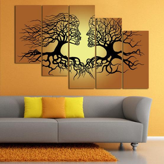 Canvas prints & wall decorative panels - 5 pieces №0826 » Green, Orange, Brown, Black, Beige » Art, Tree, Modern, Graphic, Design, Shape, Style, Fantasy, Branch, Silhouette Form #7