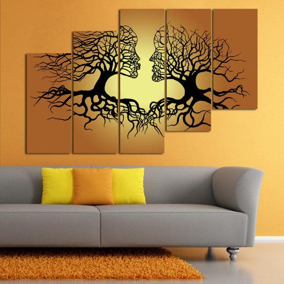 Canvas prints & wall decorative panels - 5 pieces №0826 » Green, Orange, Brown, Black, Beige » Art, Tree, Modern, Graphic, Design, Shape, Style, Fantasy, Branch, Silhouette Form #8