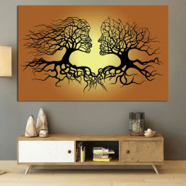 Art, Tree, Modern, Graphic, Design, Shape, Style, Fantasy, Silhouette, Branch » Green, Orange, Brown, Black, Beige