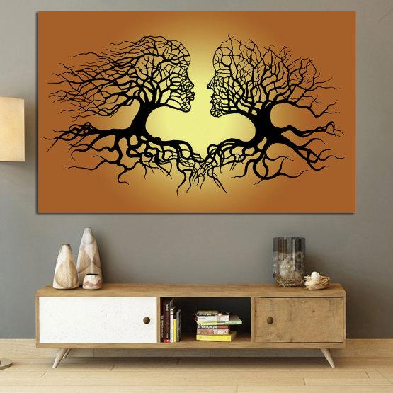 Canvas prints & wall decorative panels - 1 piece №0826 » Green, Orange, Brown, Black, Beige » Art, Tree, Modern, Graphic, Design, Shape, Style, Fantasy, Branch, Silhouette Form #1