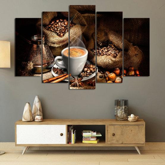 Декоративни панели и картини от канава - от 5 части №0827 » Кафяв, Черен, Бежов, Тъмно сив » Кафе, Напитка, Черно, Сутрин, Закуска, Горещ, Чаша, , , ,  Form #1