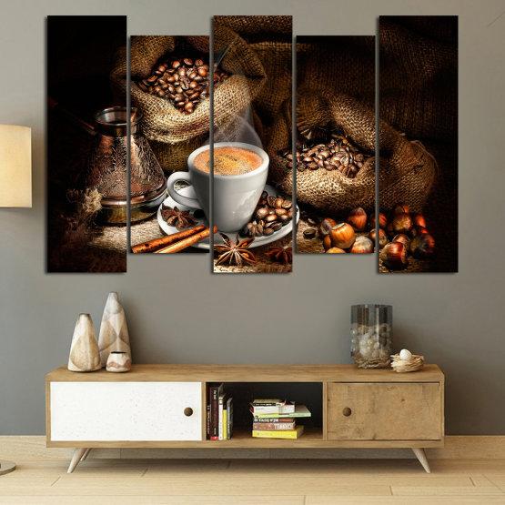 Декоративни панели и картини от канава - от 5 части №0827 » Кафяв, Черен, Бежов, Тъмно сив » Кафе, Напитка, Черно, Сутрин, Закуска, Горещ, Чаша, , , ,  Form #3