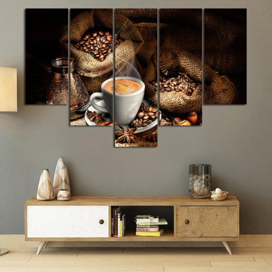 Декоративни панели и картини от канава - от 5 части №0827 » Кафяв, Черен, Бежов, Тъмно сив » Кафе, Напитка, Черно, Сутрин, Закуска, Горещ, Чаша, , , ,  Form #6