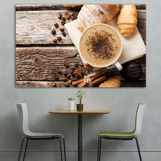 Canvas prints & wall decorative panels - 1 piece №0828 » Brown, Black, Gray, Beige » Coffee, Drink, Morning, Breakfast, Hot, Restaurant, Cup, Tasty, Healthy, Bakery, Sweet, Cappuccino, Espresso, Caffeine, Baking, Energy, Latte, Aroma, Mug, Brown Form #1