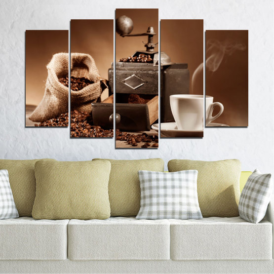 Canvas prints & wall decorative panels - 5 pieces №0829 » Brown, Black, Gray, Beige » Coffee, Drink, Kitchen, Morning, Breakfast, Beverage, Hot, Restaurant, Cup, Cappuccino, Espresso, Caffeine, Aromatic, Aroma, Mug Form #1