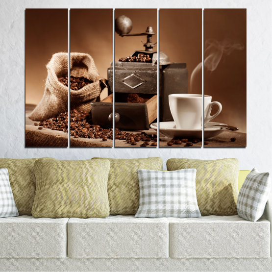 Canvas prints & wall decorative panels - 5 pieces №0829 » Brown, Black, Gray, Beige » Coffee, Drink, Kitchen, Morning, Breakfast, Beverage, Hot, Restaurant, Cup, Cappuccino, Espresso, Caffeine, Aromatic, Aroma, Mug Form #2