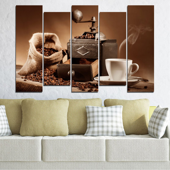 Canvas prints & wall decorative panels - 5 pieces №0829 » Brown, Black, Gray, Beige » Coffee, Drink, Kitchen, Morning, Breakfast, Beverage, Hot, Restaurant, Cup, Cappuccino, Espresso, Caffeine, Aromatic, Aroma, Mug Form #3