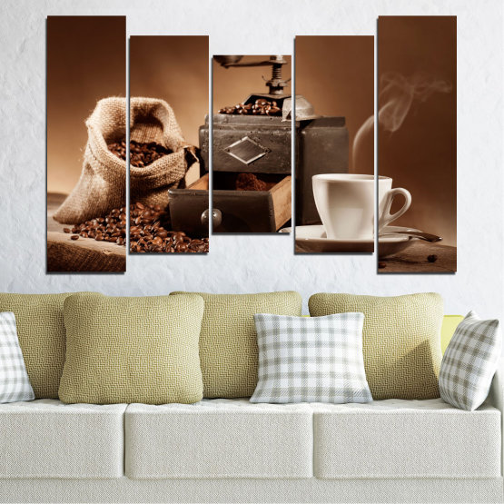 Canvas prints & wall decorative panels - 5 pieces №0829 » Brown, Black, Gray, Beige » Coffee, Drink, Kitchen, Morning, Breakfast, Beverage, Hot, Restaurant, Cup, Cappuccino, Espresso, Caffeine, Aromatic, Aroma, Mug Form #4