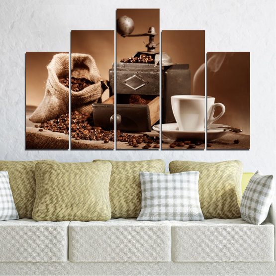 Canvas prints & wall decorative panels - 5 pieces №0829 » Brown, Black, Gray, Beige » Coffee, Drink, Kitchen, Morning, Breakfast, Beverage, Hot, Restaurant, Cup, Cappuccino, Espresso, Caffeine, Aromatic, Aroma, Mug Form #5