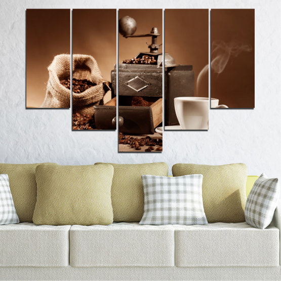 Canvas prints & wall decorative panels - 5 pieces №0829 » Brown, Black, Gray, Beige » Coffee, Drink, Kitchen, Morning, Breakfast, Beverage, Hot, Restaurant, Cup, Cappuccino, Espresso, Caffeine, Aromatic, Aroma, Mug Form #6