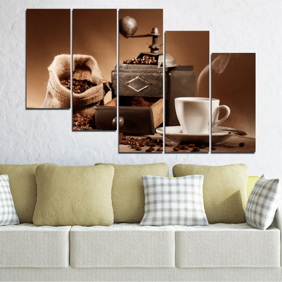 Canvas prints & wall decorative panels - 5 pieces №0829 » Brown, Black, Gray, Beige » Coffee, Drink, Kitchen, Morning, Breakfast, Beverage, Hot, Restaurant, Cup, Cappuccino, Espresso, Caffeine, Aromatic, Aroma, Mug Form #7