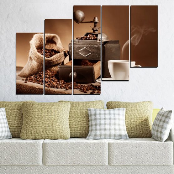 Canvas prints & wall decorative panels - 5 pieces №0829 » Brown, Black, Gray, Beige » Coffee, Drink, Kitchen, Morning, Breakfast, Beverage, Hot, Restaurant, Cup, Cappuccino, Espresso, Caffeine, Aromatic, Aroma, Mug Form #8