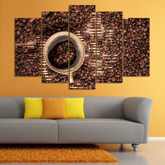 Canvas prints & wall decorative panels - 5 pieces №0830 » Brown, Black, Beige, Dark grey » Coffee, Beverage, Organic, Cappuccino, Espresso, Caffeine, Taste, Flavor, Aroma Form #1