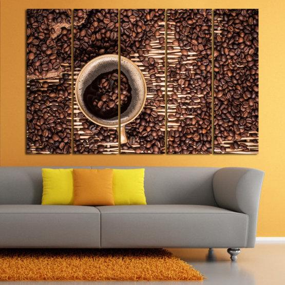 Декоративни панели и картини от канава - от 5 части №0830 » Кафяв, Черен, Бежов, Тъмно сив » Кафе, Напитка, Органичен, , , , , ,  Form #2
