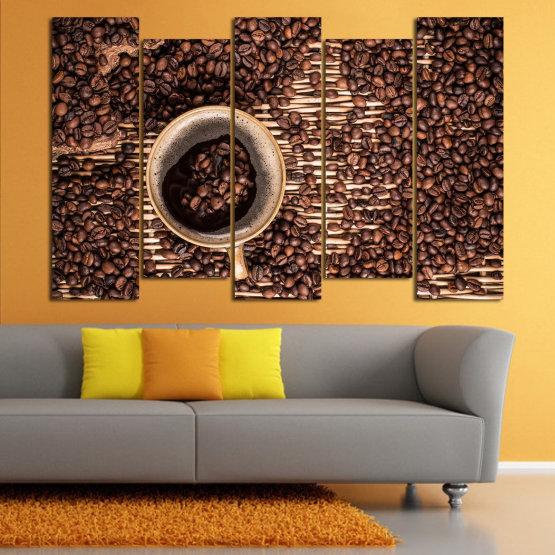 Декоративни панели и картини от канава - от 5 части №0830 » Кафяв, Черен, Бежов, Тъмно сив » Кафе, Напитка, Органичен, , , , , ,  Form #3