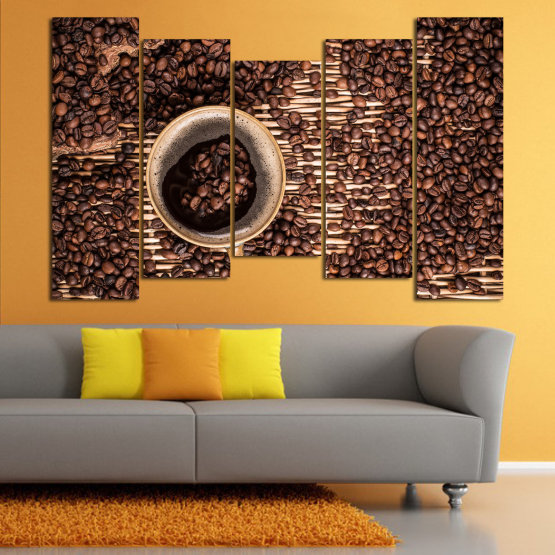 Декоративни панели и картини от канава - от 5 части №0830 » Кафяв, Черен, Бежов, Тъмно сив » Кафе, Напитка, Органичен, , , , , ,  Form #4