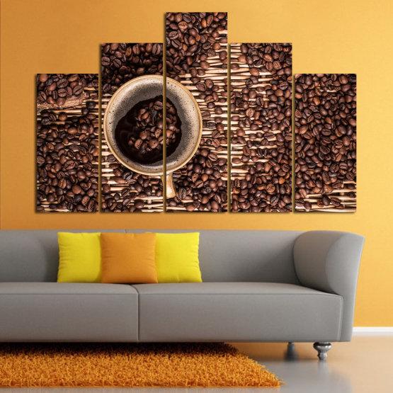 Декоративни панели и картини от канава - от 5 части №0830 » Кафяв, Черен, Бежов, Тъмно сив » Кафе, Напитка, Органичен, , , , , ,  Form #5