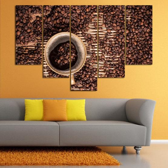 Декоративни панели и картини от канава - от 5 части №0830 » Кафяв, Черен, Бежов, Тъмно сив » Кафе, Напитка, Органичен, , , , , ,  Form #6