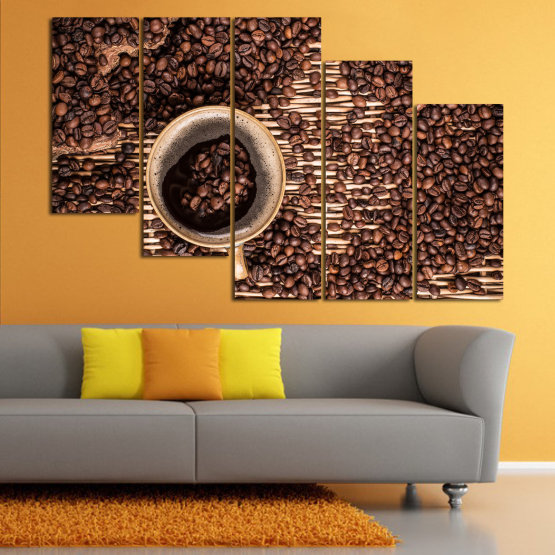 Декоративни панели и картини от канава - от 5 части №0830 » Кафяв, Черен, Бежов, Тъмно сив » Кафе, Напитка, Органичен, , , , , ,  Form #7