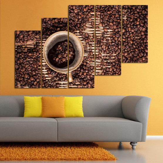 Декоративни панели и картини от канава - от 5 части №0830 » Кафяв, Черен, Бежов, Тъмно сив » Кафе, Напитка, Органичен, , , , , ,  Form #8