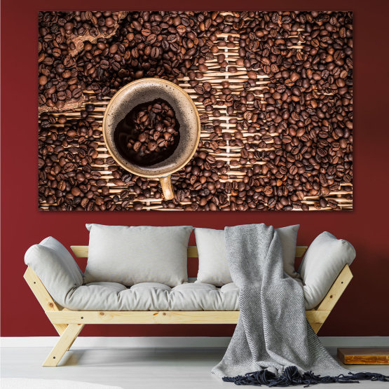 Canvas prints & wall decorative panels - 1 piece №0830 » Brown, Black, Beige, Dark grey » Coffee, Beverage, Organic, Cappuccino, Espresso, Caffeine, Taste, Flavor, Aroma Form #1