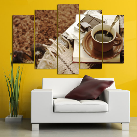 Canvas prints & wall decorative panels - 5 pieces №0831 » Brown, Black, Gray » Coffee, Fresh, Drink, Black, Morning, Breakfast, Delicious, Beverage, Hot, Restaurant, Cup, Cappuccino, Espresso, Caffeine, Latte, Aroma, Cookie, Mocha, Warm Form #1
