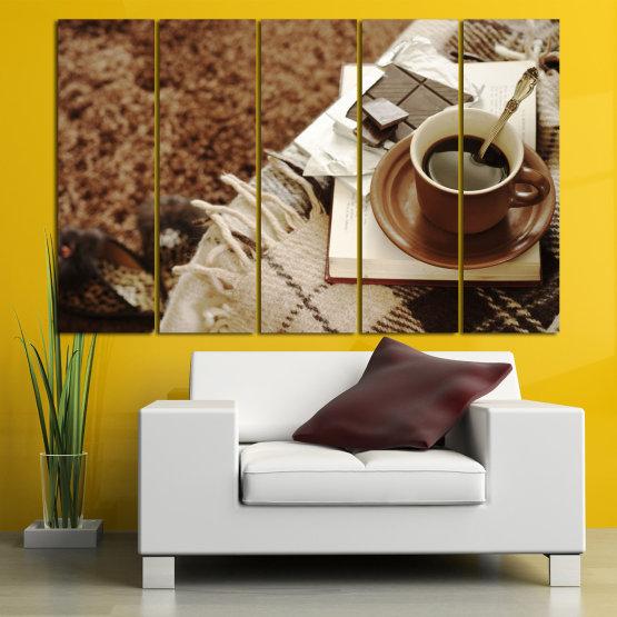 Canvas prints & wall decorative panels - 5 pieces №0831 » Brown, Black, Gray » Coffee, Fresh, Drink, Black, Morning, Breakfast, Delicious, Beverage, Hot, Restaurant, Cup, Cappuccino, Espresso, Caffeine, Latte, Aroma, Cookie, Mocha, Warm Form #2