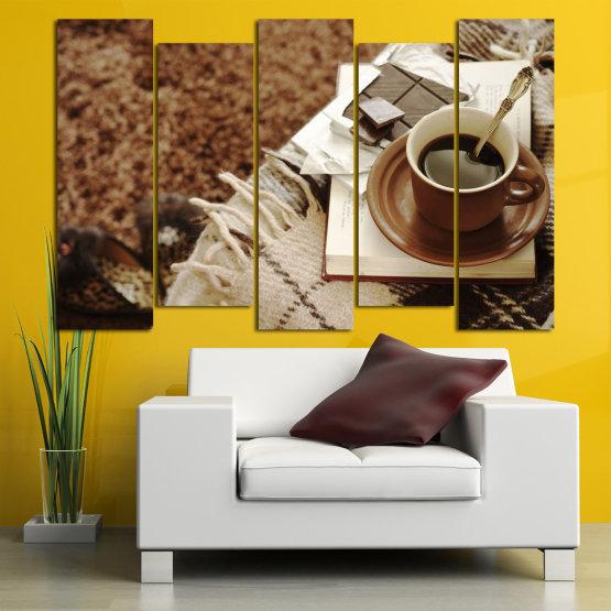 Canvas prints & wall decorative panels - 5 pieces №0831 » Brown, Black, Gray » Coffee, Fresh, Drink, Black, Morning, Breakfast, Delicious, Beverage, Hot, Restaurant, Cup, Cappuccino, Espresso, Caffeine, Latte, Aroma, Cookie, Mocha, Warm Form #3