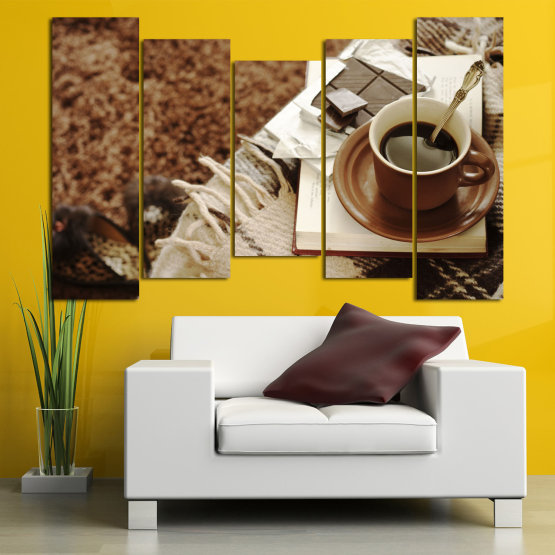 Canvas prints & wall decorative panels - 5 pieces №0831 » Brown, Black, Gray » Coffee, Fresh, Drink, Black, Morning, Breakfast, Delicious, Beverage, Hot, Restaurant, Cup, Cappuccino, Espresso, Caffeine, Latte, Aroma, Cookie, Mocha, Warm Form #4