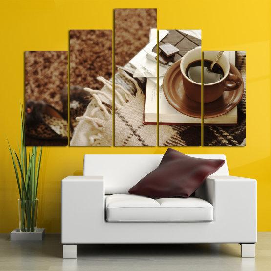 Canvas prints & wall decorative panels - 5 pieces №0831 » Brown, Black, Gray » Coffee, Fresh, Drink, Black, Morning, Breakfast, Delicious, Beverage, Hot, Restaurant, Cup, Cappuccino, Espresso, Caffeine, Latte, Aroma, Cookie, Mocha, Warm Form #5