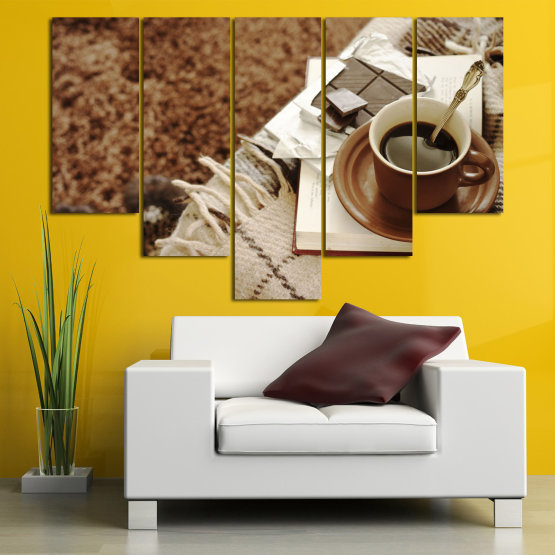Canvas prints & wall decorative panels - 5 pieces №0831 » Brown, Black, Gray » Coffee, Fresh, Drink, Black, Morning, Breakfast, Delicious, Beverage, Hot, Restaurant, Cup, Cappuccino, Espresso, Caffeine, Latte, Aroma, Cookie, Mocha, Warm Form #6