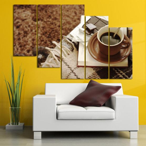 Canvas prints & wall decorative panels - 5 pieces №0831 » Brown, Black, Gray » Coffee, Fresh, Drink, Black, Morning, Breakfast, Delicious, Beverage, Hot, Restaurant, Cup, Cappuccino, Espresso, Caffeine, Latte, Aroma, Cookie, Mocha, Warm Form #7