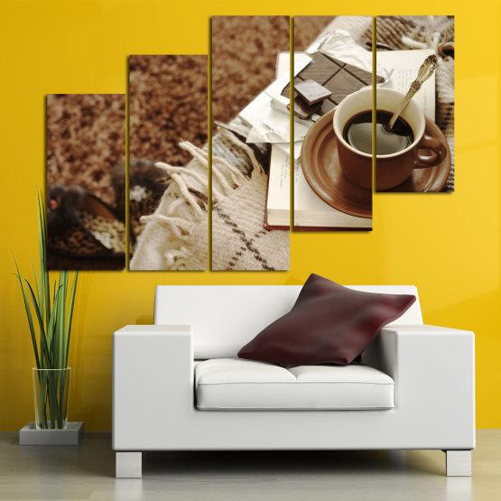 Canvas prints & wall decorative panels - 5 pieces №0831 » Brown, Black, Gray » Coffee, Fresh, Drink, Black, Morning, Breakfast, Delicious, Beverage, Hot, Restaurant, Cup, Cappuccino, Espresso, Caffeine, Latte, Aroma, Cookie, Mocha, Warm Form #8
