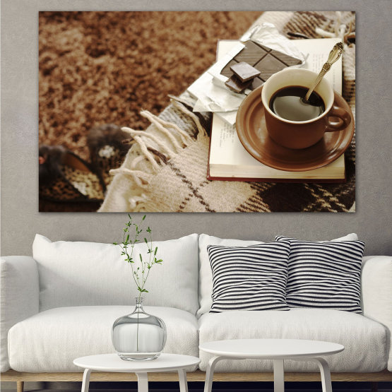 Canvas prints & wall decorative panels - 1 piece №0831 » Brown, Black, Gray » Coffee, Fresh, Drink, Black, Morning, Breakfast, Delicious, Beverage, Hot, Restaurant, Cup, Cappuccino, Espresso, Caffeine, Latte, Aroma, Cookie, Mocha, Warm Form #1