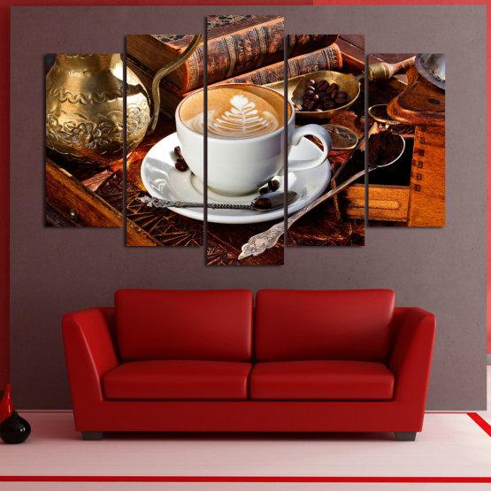 Декоративни панели и картини от канава - от 5 части №0832 » Червен, Кафяв, Черен, Сив » Кафе, Напитка, Сутрин, Закуска, Много вкусен, Ресторант, Чаша, , , , , , , , ,  Form #1