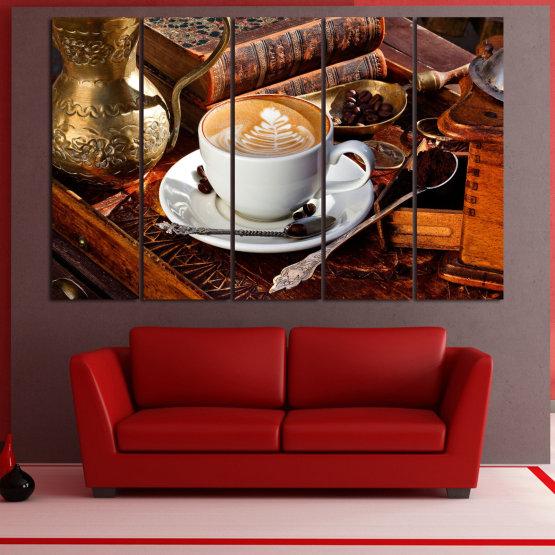 Декоративни панели и картини от канава - от 5 части №0832 » Червен, Кафяв, Черен, Сив » Кафе, Напитка, Сутрин, Закуска, Много вкусен, Ресторант, Чаша, , , , , , , , ,  Form #2