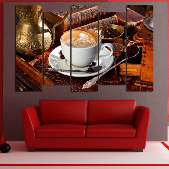 Декоративни панели и картини от канава - от 5 части №0832 » Червен, Кафяв, Черен, Сив » Кафе, Напитка, Сутрин, Закуска, Много вкусен, Ресторант, Чаша, , , , , , , , ,  Form #3