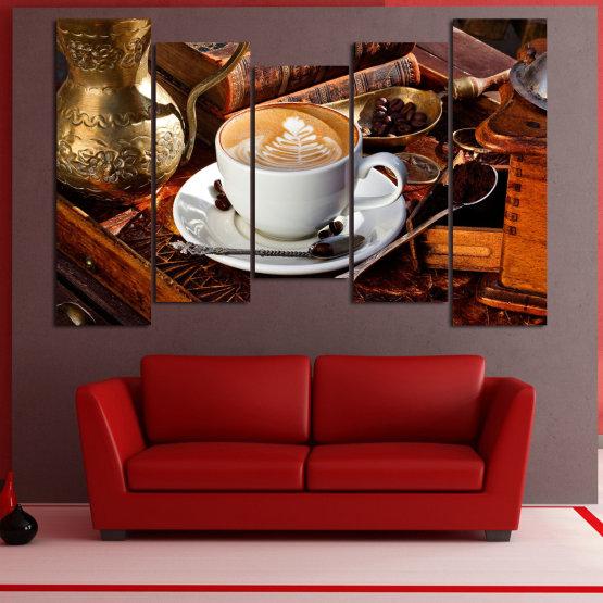 Декоративни панели и картини от канава - от 5 части №0832 » Червен, Кафяв, Черен, Сив » Кафе, Напитка, Сутрин, Закуска, Много вкусен, Ресторант, Чаша, , , , , , , , ,  Form #4