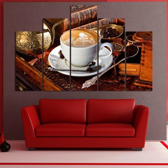 Декоративни панели и картини от канава - от 5 части №0832 » Червен, Кафяв, Черен, Сив » Кафе, Напитка, Сутрин, Закуска, Много вкусен, Ресторант, Чаша, , , , , , , , ,  Form #5
