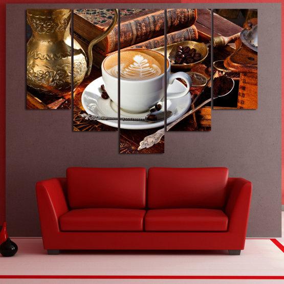 Декоративни панели и картини от канава - от 5 части №0832 » Червен, Кафяв, Черен, Сив » Кафе, Напитка, Сутрин, Закуска, Много вкусен, Ресторант, Чаша, , , , , , , , ,  Form #6