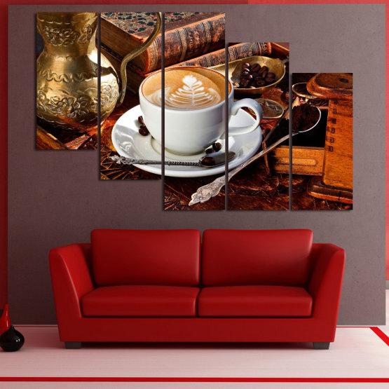 Декоративни панели и картини от канава - от 5 части №0832 » Червен, Кафяв, Черен, Сив » Кафе, Напитка, Сутрин, Закуска, Много вкусен, Ресторант, Чаша, , , , , , , , ,  Form #7
