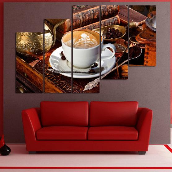 Декоративни панели и картини от канава - от 5 части №0832 » Червен, Кафяв, Черен, Сив » Кафе, Напитка, Сутрин, Закуска, Много вкусен, Ресторант, Чаша, , , , , , , , ,  Form #8