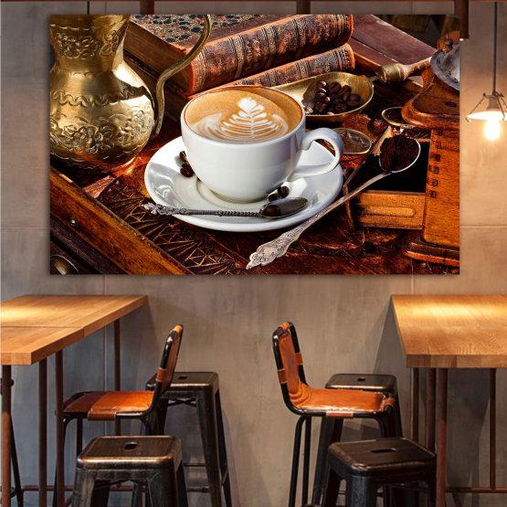 Canvas prints & wall decorative panels - 1 piece №0832 » Red, Brown, Black, Gray » Coffee, Drink, Morning, Breakfast, Delicious, Restaurant, Cup, Sugar, Cappuccino, Espresso, Caffeine, Aromatic, Aroma, Mug, Brown, Milk Form #1